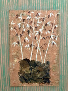 Mixed Media Floral Oil Painting Collage Bouquet of Bamboo Grass with Flowers