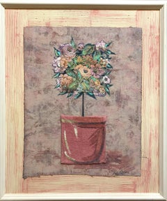 Mixed Media Floral Oil Painting Collage Bouquet of Flowers