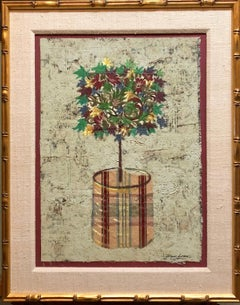 Mixed Media Floral Oil Painting Collage Bouquet of Flowers Topiary