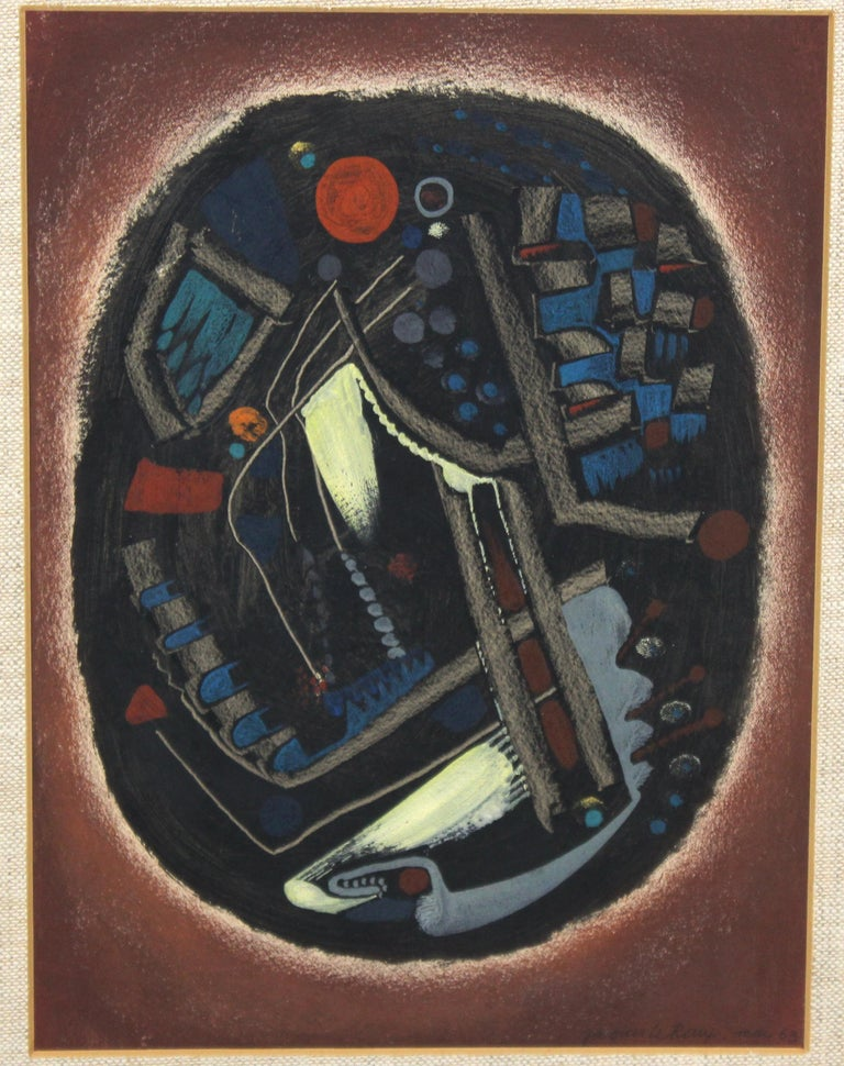 French abstract modernist mixed-media painting by Jacques Le Roux (French, 1923-2010). The piece is signed and dated 1963 in the lower right corner and framed in the original silver leaf frame. Created in egg tempera and pastel, the piece depicts