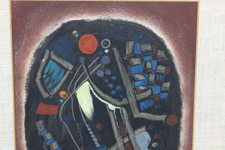 Mid-Century Modern Jacques Le Roux French Abstract Modernist Mixed-Media Painting For Sale