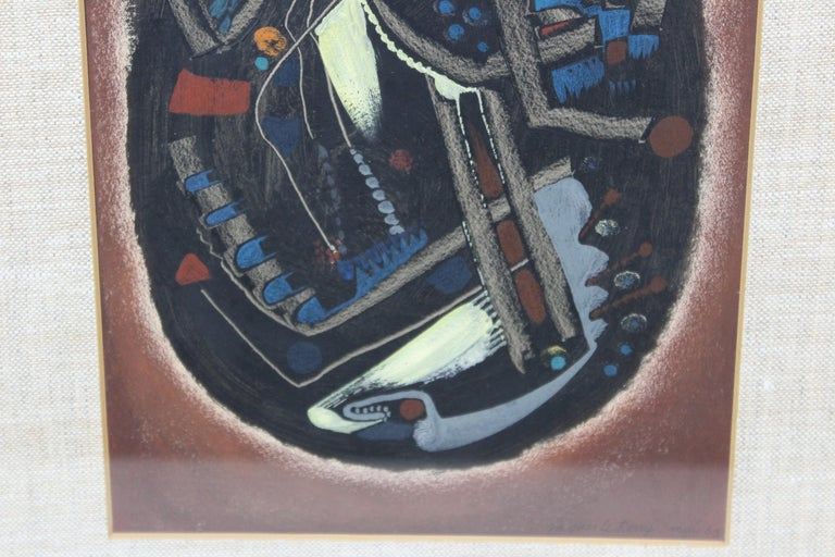 Jacques Le Roux French Abstract Modernist Mixed-Media Painting In Good Condition For Sale In New York, NY