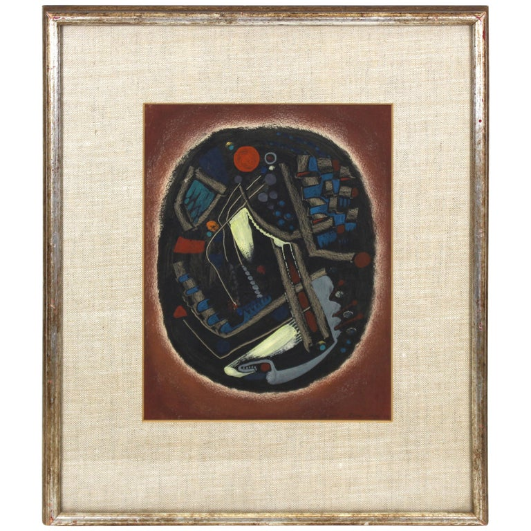 Jacques Le Roux French Abstract Modernist Mixed-Media Painting For Sale