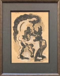 Prometheus Conquering the Vulture, Gouache Painting, Modern & Cubist 1938