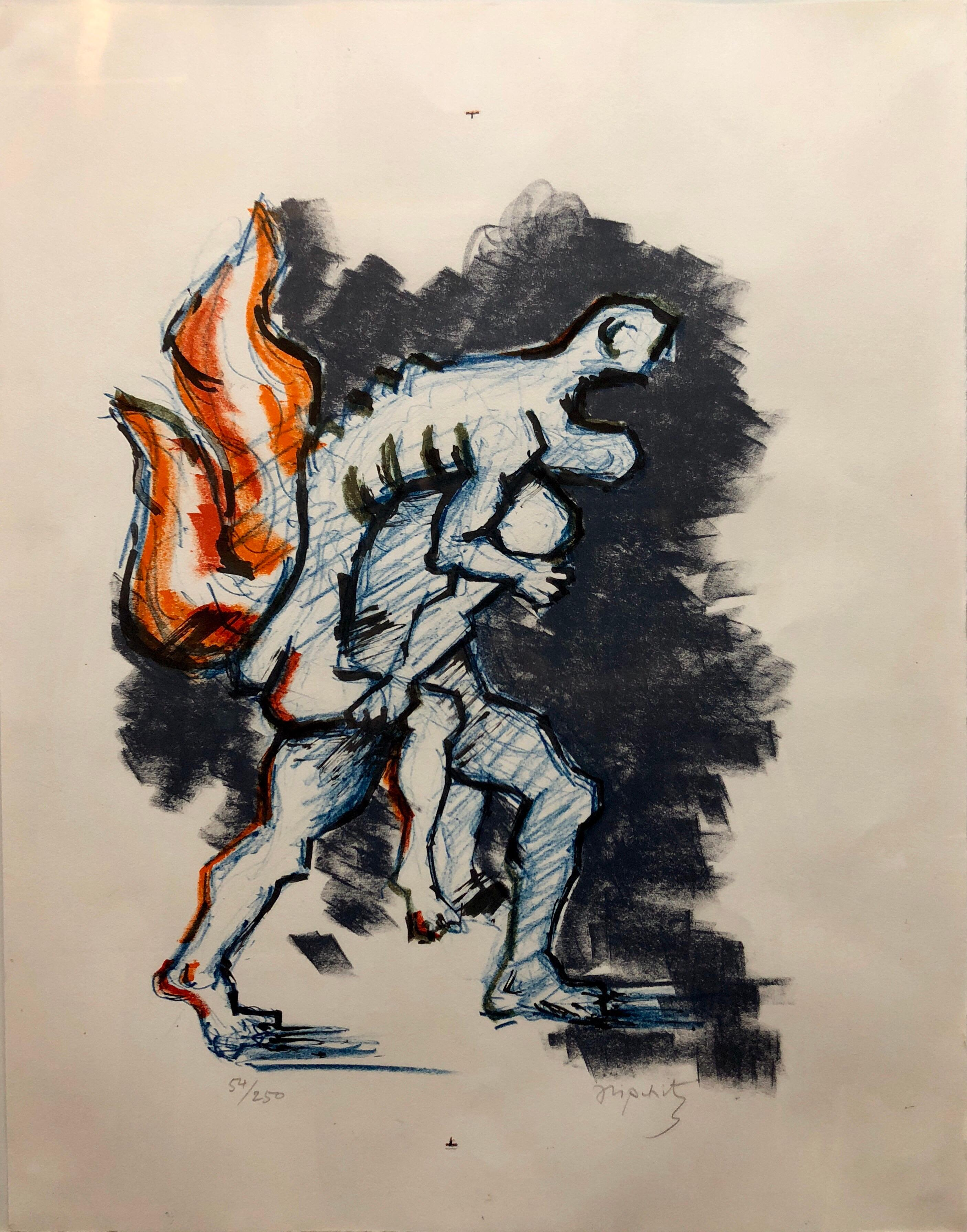 "Lithuanian French Cubist Modernist Lithograph ""Flight"" Refugees"