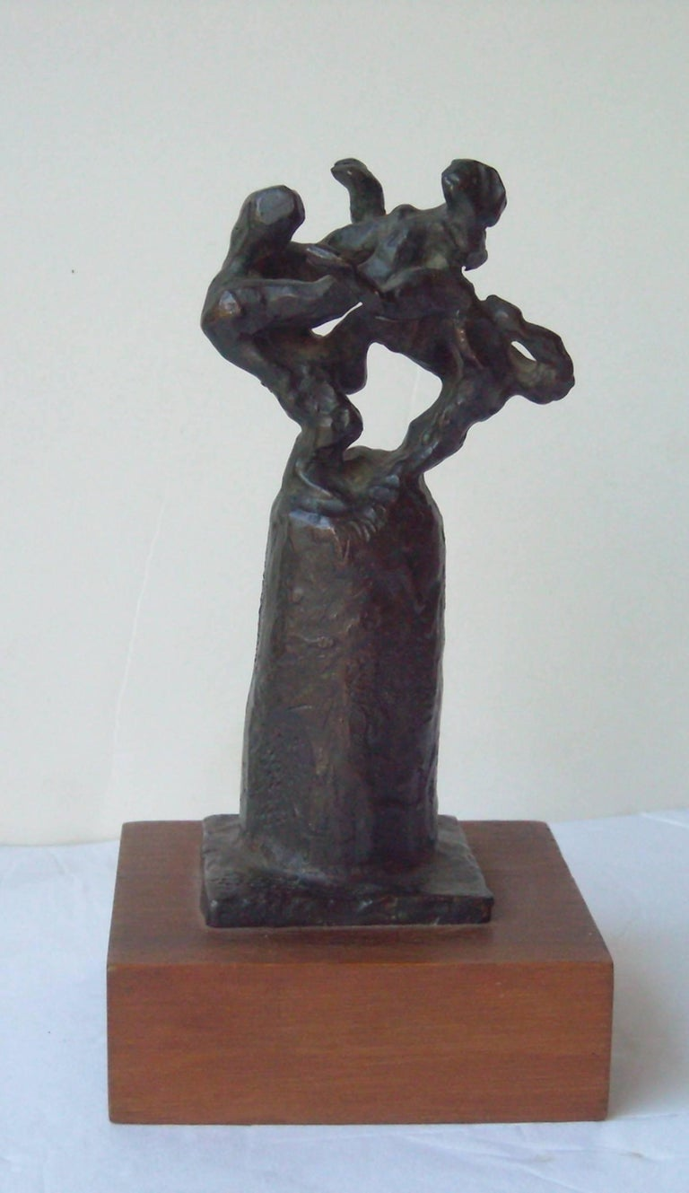 Modern Jacques Lipchitz Signed Initial Bronze Title, Samson Fighting the Lion For Sale