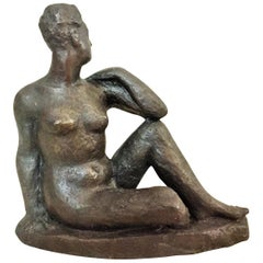 Jacques Loutchansky, Femme Nue Assise, Patinated Bronze Sculpture, 1940s