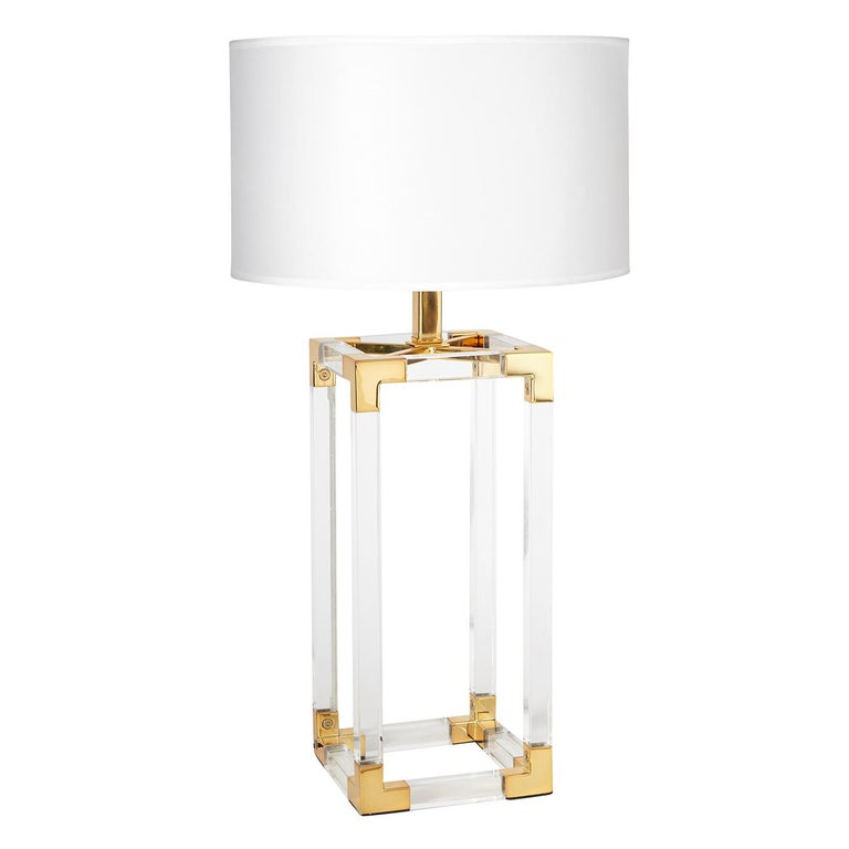 Modern Jacques Lucite and Brass Column Table Lamp For Sale