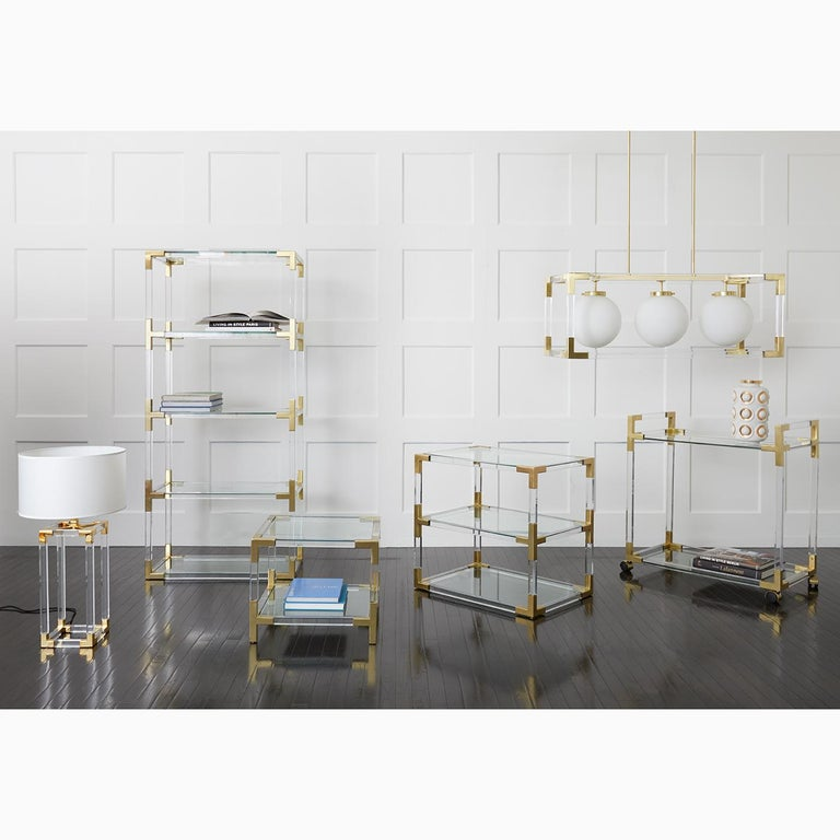 American Jacques Lucite and Brass Column Table Lamp For Sale
