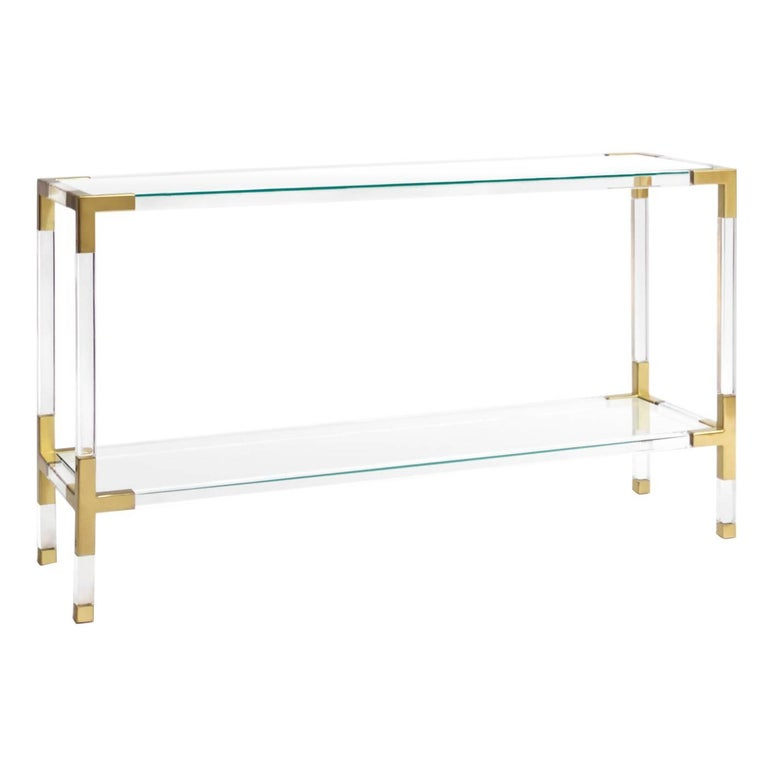Jacques Lucite and Brass Console