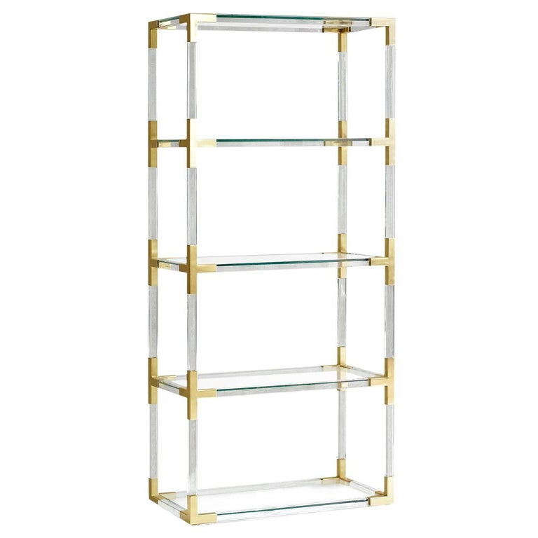 Jacques Lucite and Brass Étagère