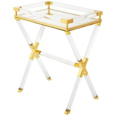 Jacques Lucite and Brass Tray Table