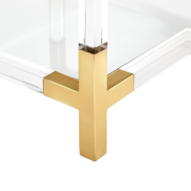 American Jacques Lucite and Brass Two-Tier Accent Table For Sale