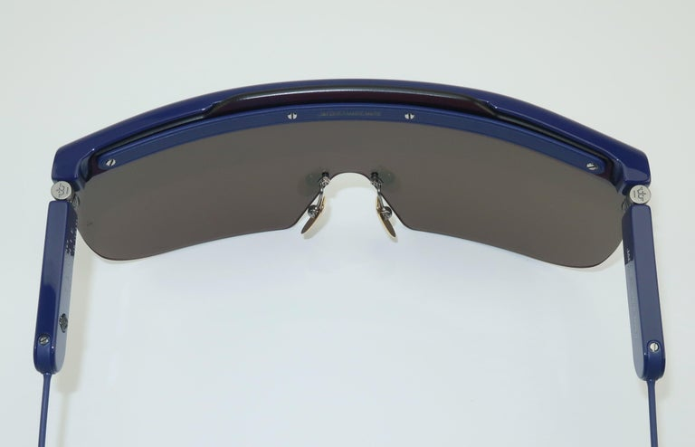 Jacques Marie Mage 'Connie' Space Age Blue Sunglasses For Sale 6