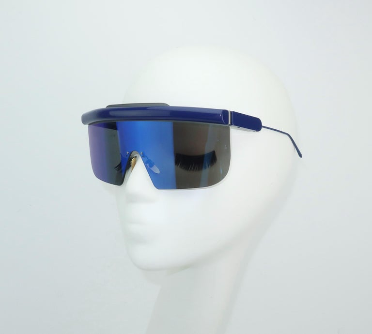 Jacques Marie Mage 'Connie' Space Age Blue Sunglasses In Good Condition For Sale In Atlanta, GA