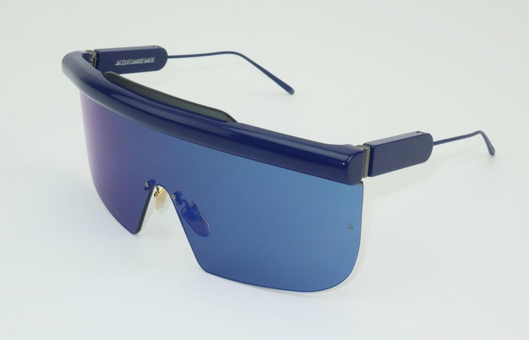 Jacques Marie Mage 'Connie' Space Age Blue Sunglasses For Sale 1