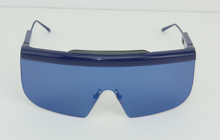 Jacques Marie Mage 'Connie' Space Age Blue Sunglasses For Sale 2