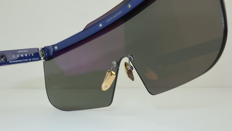 Jacques Marie Mage 'Connie' Space Age Blue Sunglasses For Sale 5