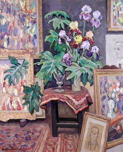 Artist's Studio - Post Impressionist Oil, Interior by Jacques Martin-Ferrieres