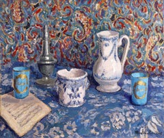 Blue Still Life - French Post Impressionist Oil by Jacques Martin-Ferrieres