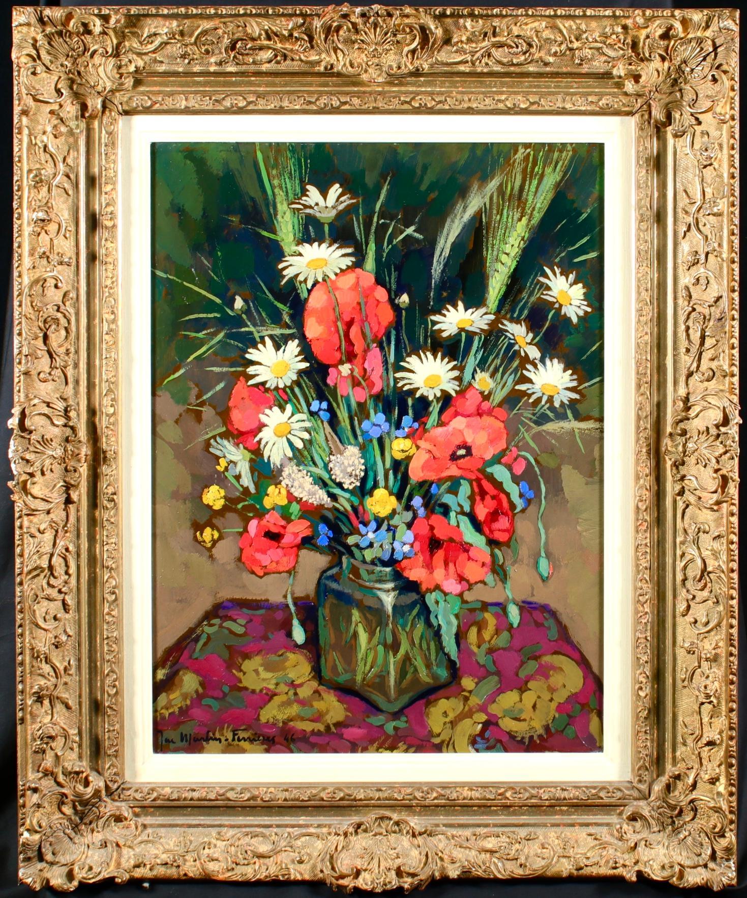 Bouquet de Fleurs - Post Impressionist Oil, Flowers by Jacques Martin-Ferrieres