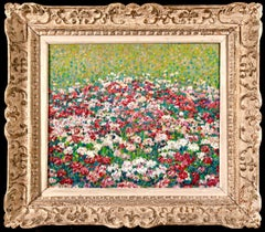Field of Flowers - Post Impressionist Oil, Landscape Oil by J Martin-Ferrieres