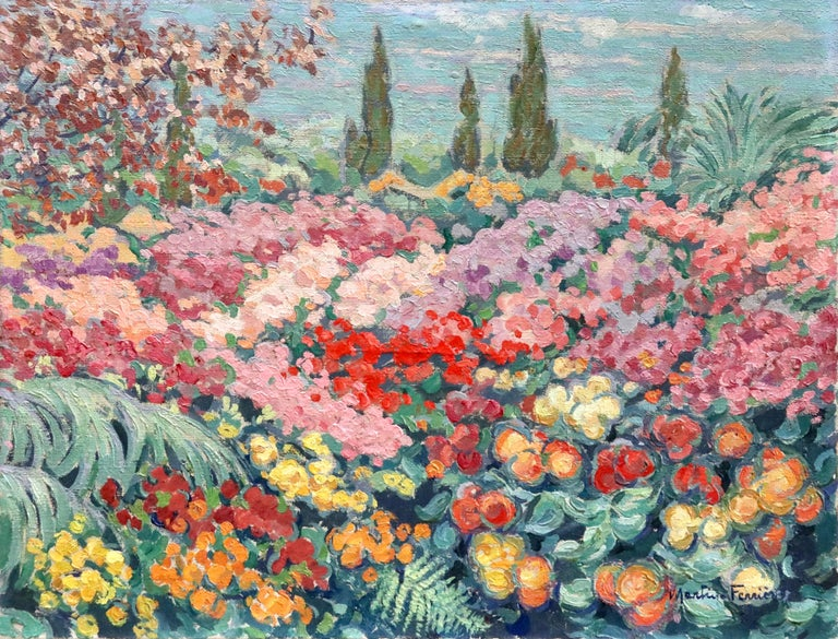 A stunning oil on canvas by Jacques Martin Ferrieres depicting a landscape with the many beautiful flowers in bloom. Signed lower right. Framed dimensions are 27 inches high by 33 inches wide.  Jacques Martin-Ferrières was a pupil of his father