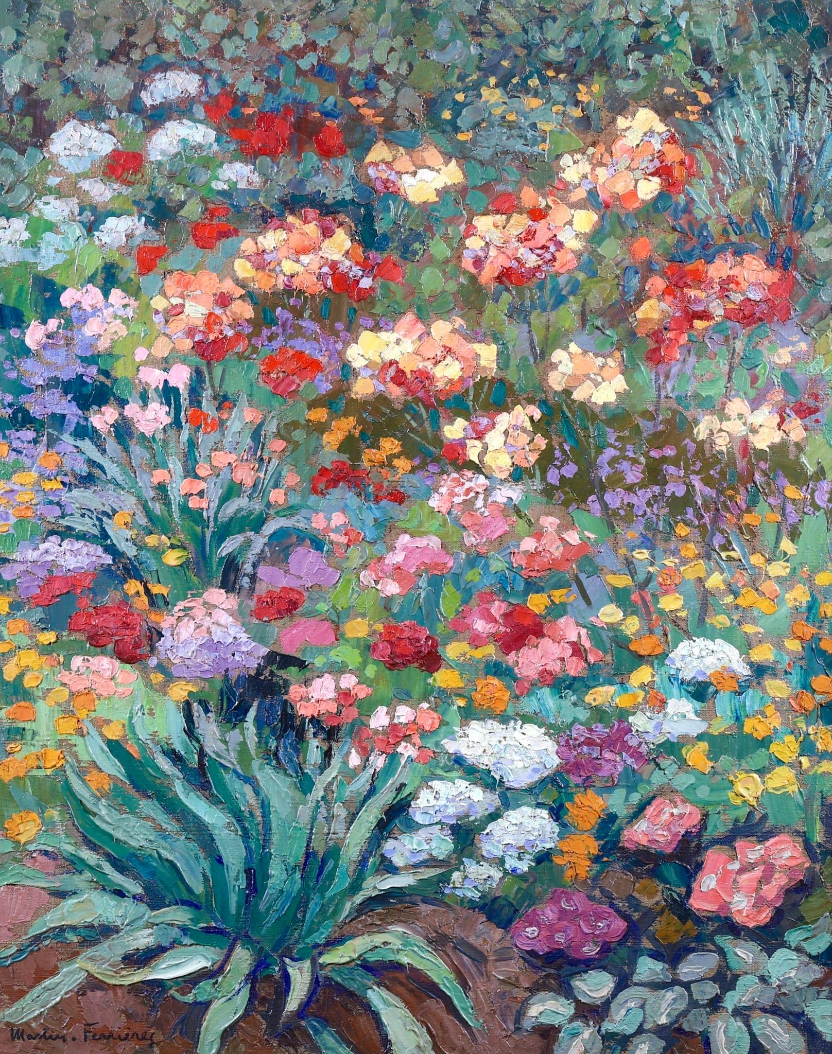 Flowers in Garden - Post Impressionist Oil, Landscape - Jacques Martin-Ferrieres
