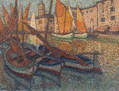 Jacques Martin-Ferrières - Barques dans le port, post-impressionist, painting