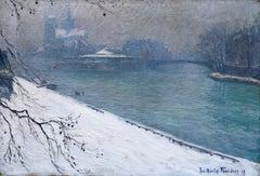 La Neige - Paris 1919 - 20th Century Oil, Snowy Winter Riverscape by Ferrieres
