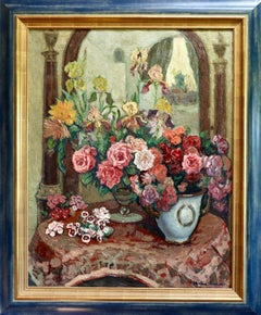 Nature Morte - Post Impressionist Oil, Still Life Flowers - J Martin-Ferrieres
