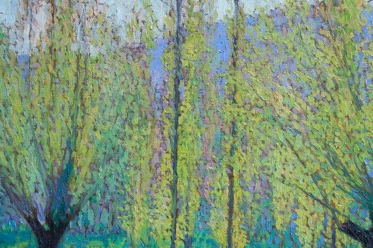 Peupliers au printemps au bord du Vert - Landscape Oil by J Martin-Ferrieres For Sale 7