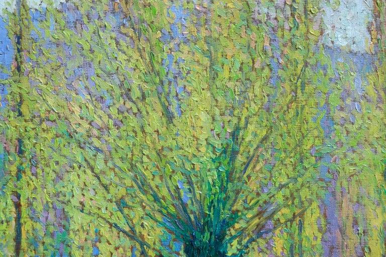 Peupliers au printemps au bord du Vert - Landscape Oil by J Martin-Ferrieres For Sale 8