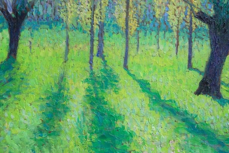 Peupliers au printemps au bord du Vert - Landscape Oil by J Martin-Ferrieres For Sale 9