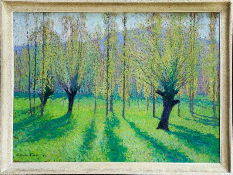Peupliers au printemps au bord du Vert - Landscape Oil by J Martin-Ferrieres - Pointillist Painting by Jacques Martin-Ferrières