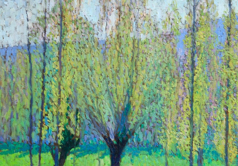 A wonderful oil on canvas by French post-impressionist painter Jacques Martin-Ferrieres. This pointillist piece depicts a green field of poplar trees on a bright spring day.  This work was almost certainly painted on a day out with his father in