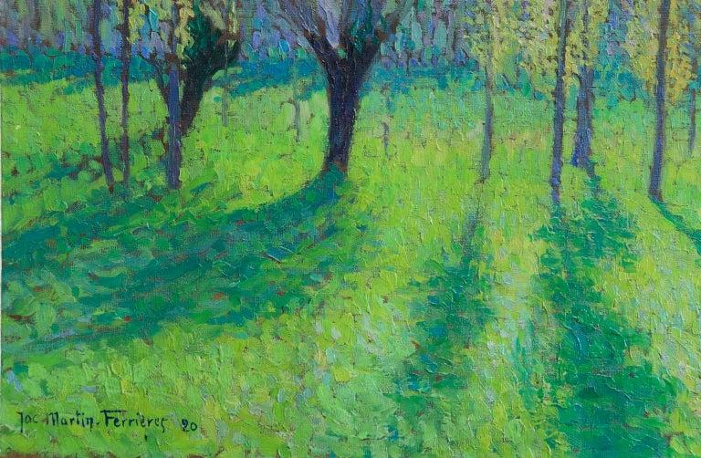 Peupliers au printemps au bord du Vert - Landscape Oil by J Martin-Ferrieres For Sale 1