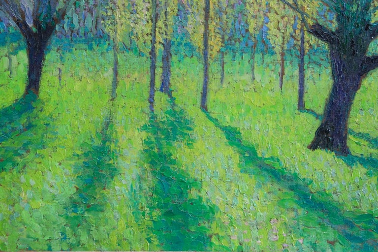 Peupliers au printemps au bord du Vert - Landscape Oil by J Martin-Ferrieres For Sale 2