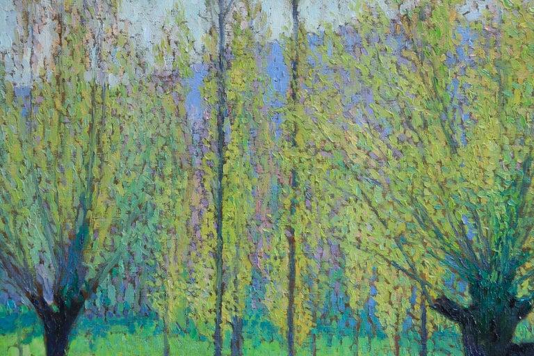 Peupliers au printemps au bord du Vert - Landscape Oil by J Martin-Ferrieres For Sale 3
