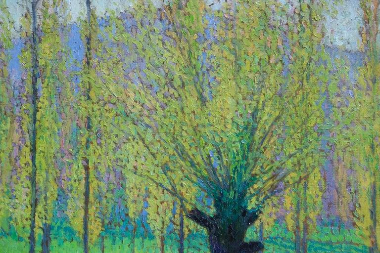 Peupliers au printemps au bord du Vert - Landscape Oil by J Martin-Ferrieres For Sale 4