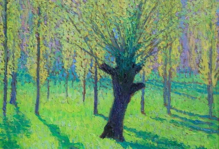 Peupliers au printemps au bord du Vert - Landscape Oil by J Martin-Ferrieres For Sale 5