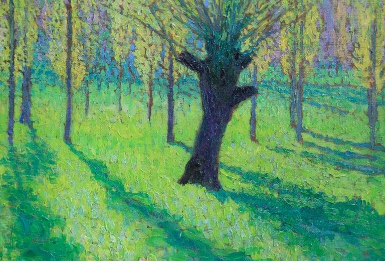 Peupliers au printemps au bord du Vert - Landscape Oil by J Martin-Ferrieres For Sale 6