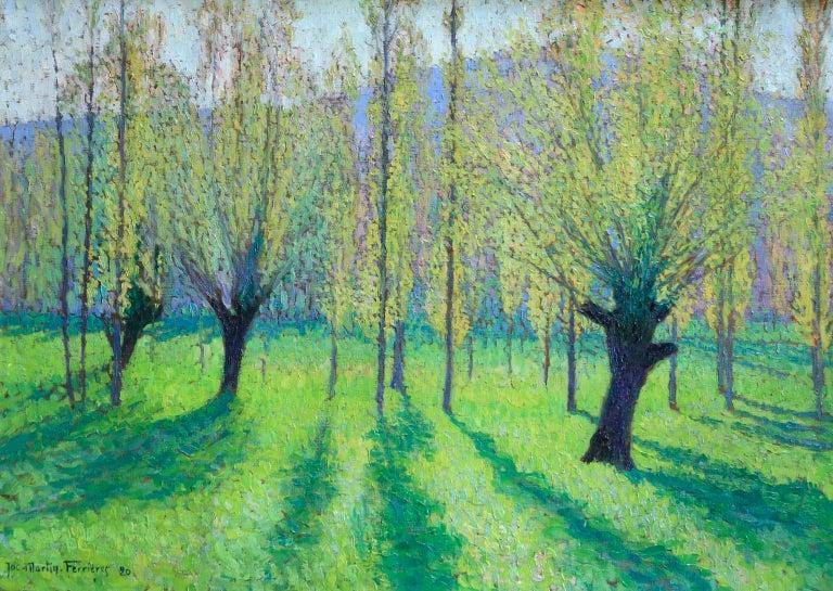 Peupliers au printemps au bord du Vert - Landscape Oil by J Martin-Ferrieres - Painting by Jacques Martin-Ferrières