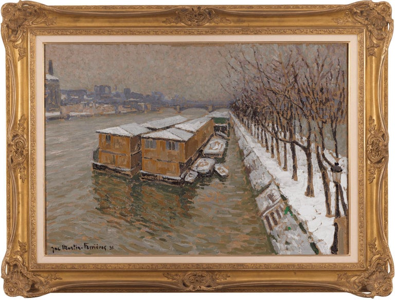 Piscine Deligny on the River Seine - Painting by Jacques Martin-Ferrières
