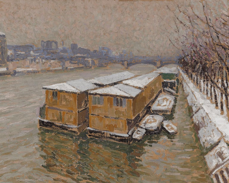 Piscine Deligny on the River Seine - Post-Impressionist Painting by Jacques Martin-Ferrières