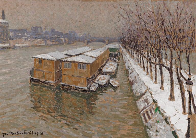 Jacques Martin-Ferrières Landscape Painting - Piscine Deligny on the River Seine