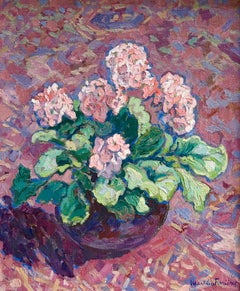 Primevere - 20th Century Oil, Still Life of Flowers by Jacques Martin-Ferrieres