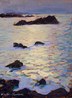 Sea at Moonlight - Post Impressionist Oil, Seascape by Jacques Martin-Ferrieres