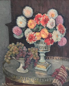 Still Life with a Bouquet of Dahlias in a Vase and a Bowl of Grapes on a Table