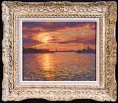 Sunset - Amsterdam - Post Impressionist Oil, Seascape - Jacques Martin-Ferrieres